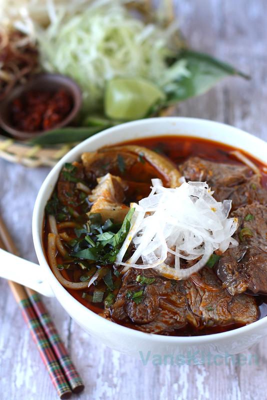 Vietnamese spicy beef noodle soup (Bún Bò Huế)