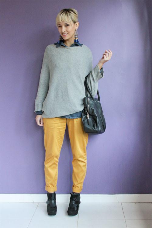 Look do dia: cinza, azul e amarelo