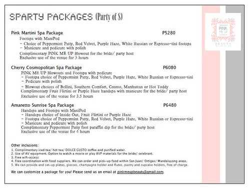 Pink Me Up Spa Party Package for 8