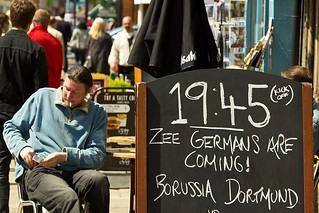 Pub sign, Canterbury: 19.45 Zee Germans are Coming! Borussia Dortmund v Bayern Munich