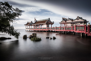 Long Exposure Chinese Shrine Pier over the sea