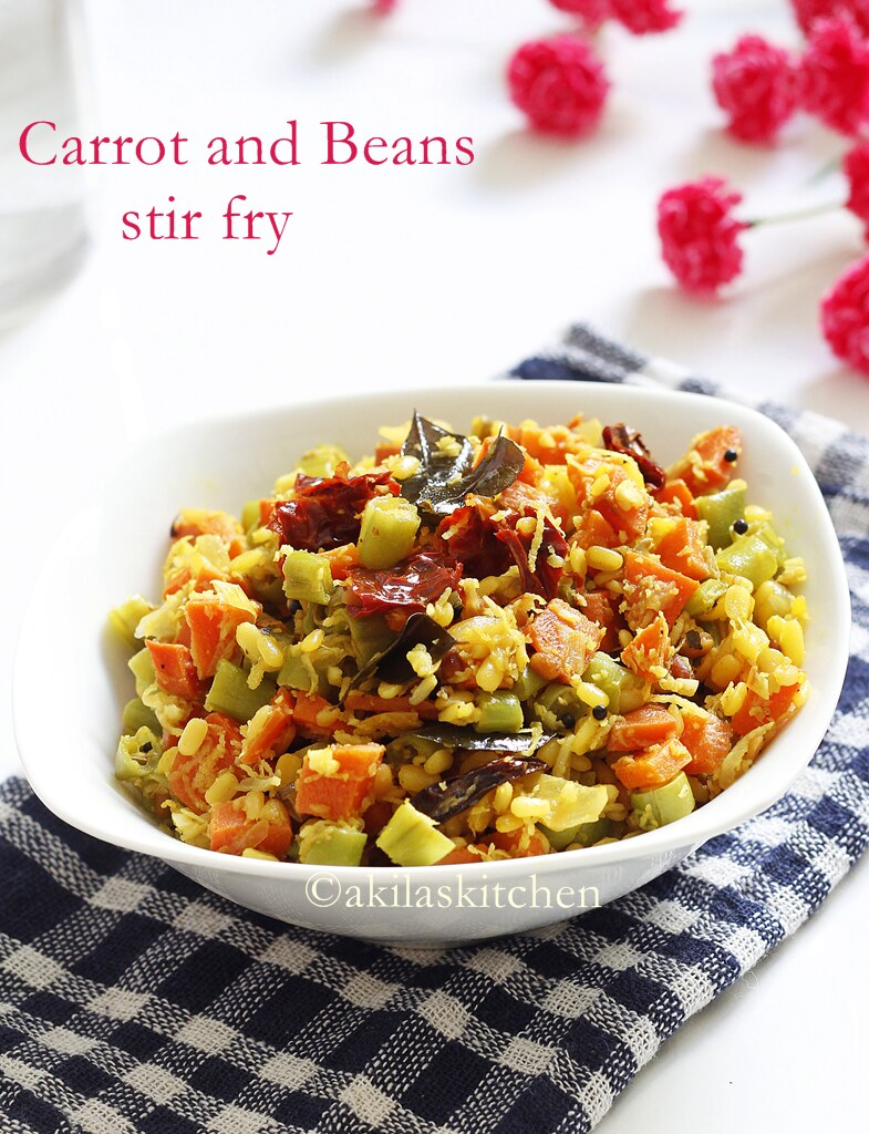 How to make carrot and beans poriyal
