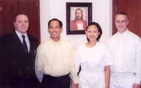 Elder Müller, Ramon Alvaro, Myla Alvaro and Elder Egan