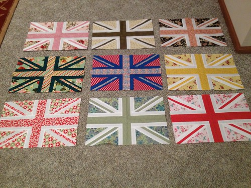 Union Jack quilt in progress, thank you bee members