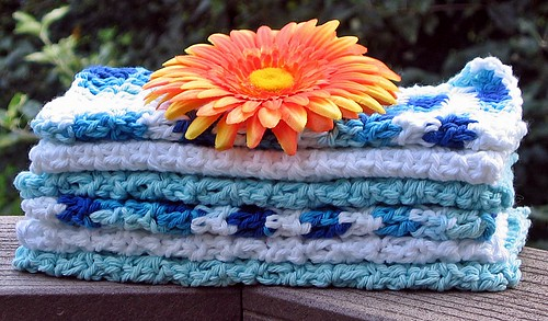 Washcloths - Blue and White + White + Blue 1 by Annabelle Baskets