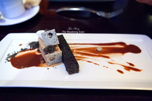 Praline parfait, black sesame financier, sesame shortbread, chocolate sauce, crème fraîche