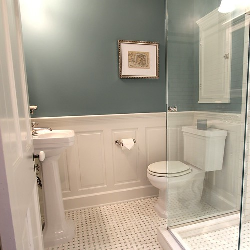 Master bathroom design decisions tile vs wood - Bathroom remodel ideas with wainscoting ...