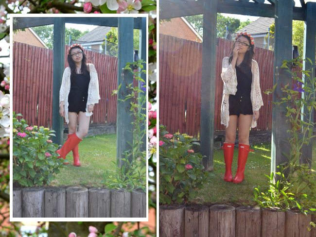 Daisybutter - UK Style and Fashion Blog: what i wore, hunter, floral crown, kimono, SS13
