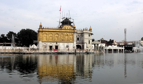The Durgiana Temple, located in the heart of Amritsar, is another religious shrine surrounded by water. Dedicated to Goddess Durga, the foundation stone of this temple was laid by Pandit Madan Mohan Malviya in 1924 on the day of Ganga Dashmi. The main shrine is built on the pattern of the Golden Temple - the upper portion is gold plated and a pool of water surrounds t on all sides. This pool also gets its water supply from the Upper Bari Doab canal of the river Ravi.