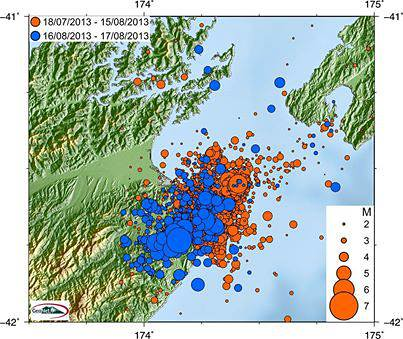 Quakes between July and August