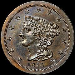 Newman 1845 Half Cent obverse