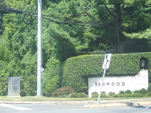 Graffiti at the entrance to the Kenwood neighborhood in Montgomery County Maryland (on River Rd.)