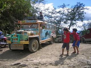 Chlidren playing around a Jeepney, between Batad and Banaue, Cordillera, North Luzon, Philippines