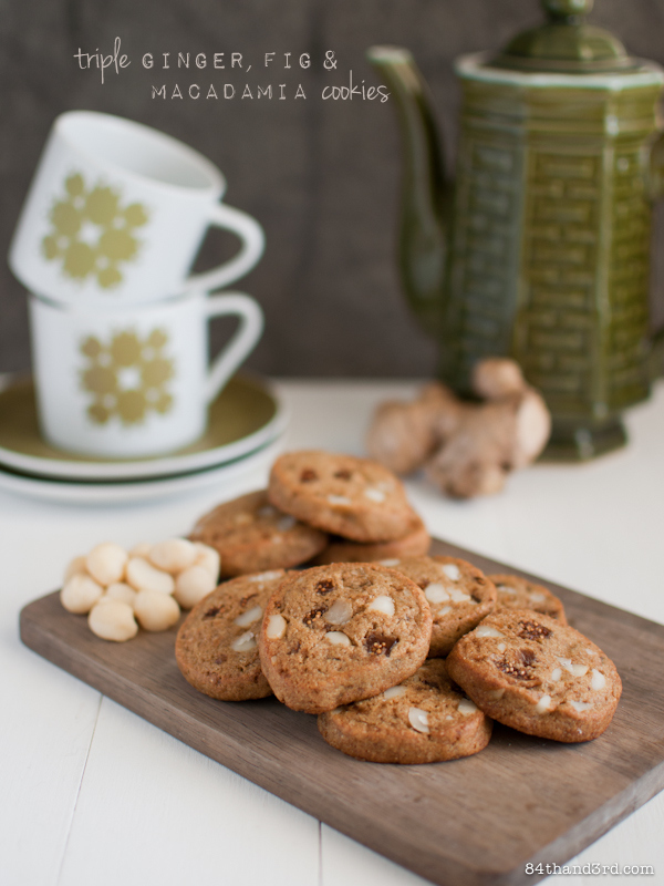 Ginger, Fig & Macadamia Cookies