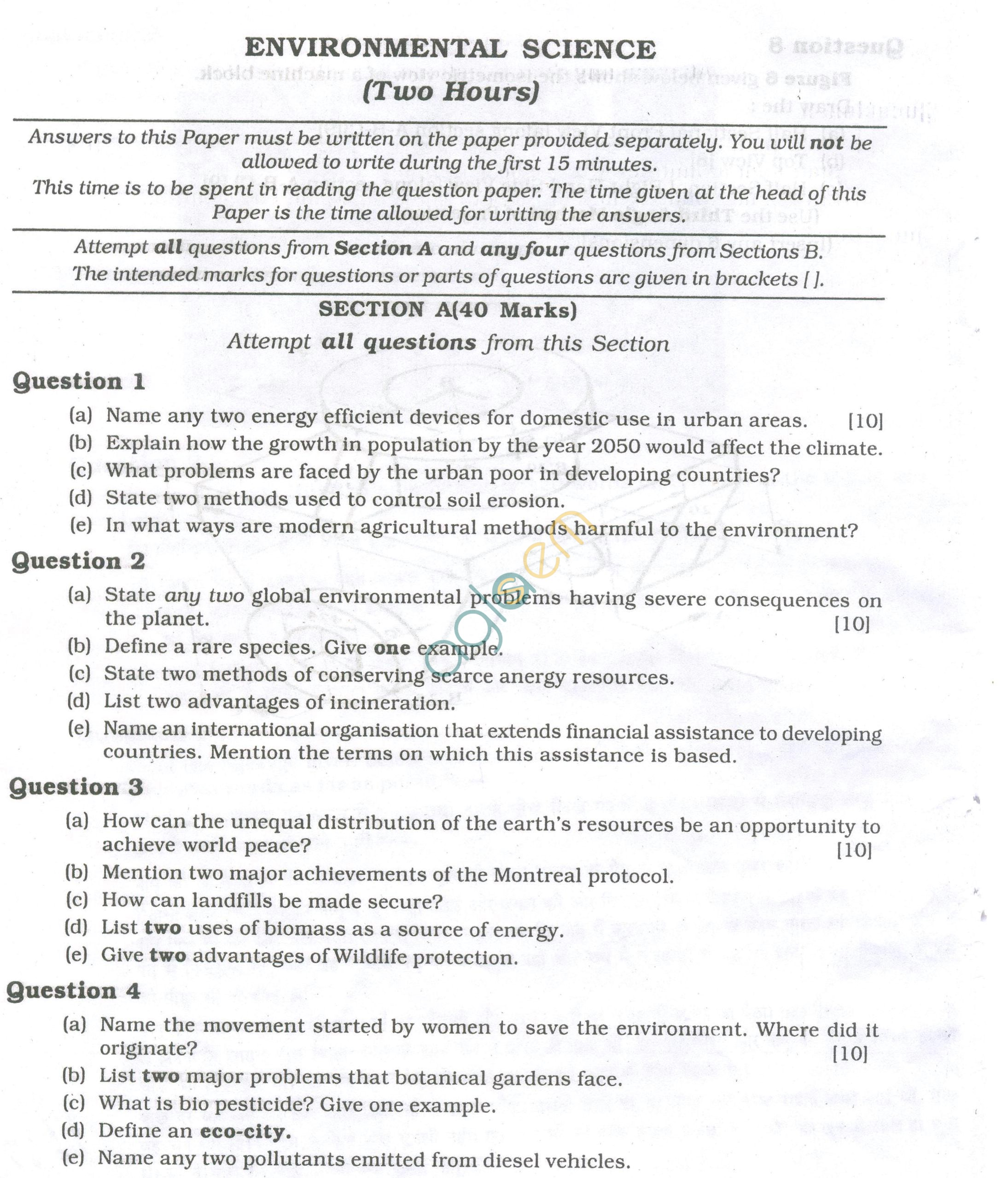 ICSE Question Papers 2013 for Class 10 - Environmental Science