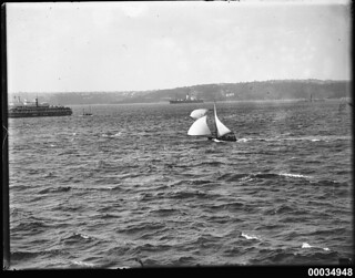 Two sloops and ferries in Sydney Harbour