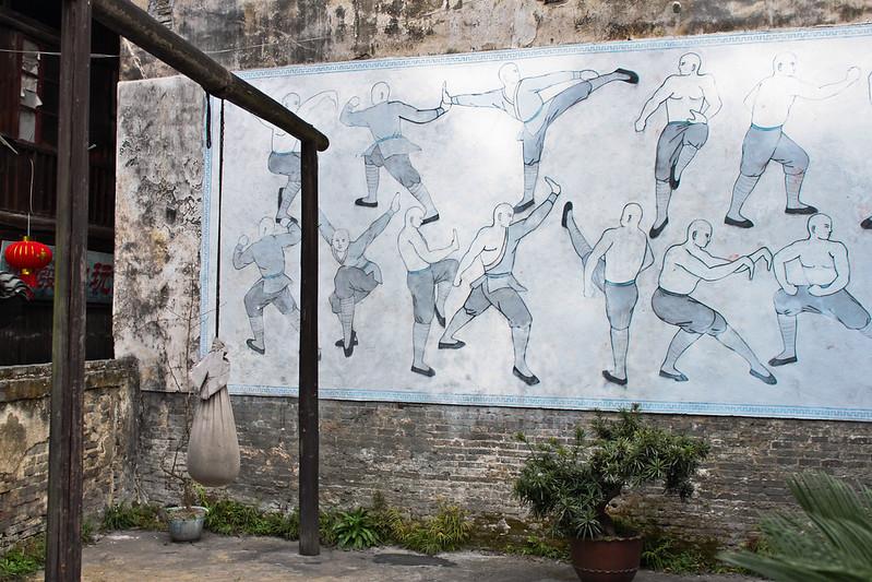 Exterior de un gimnasio de artes marciales en la aldea de Hongjiang.