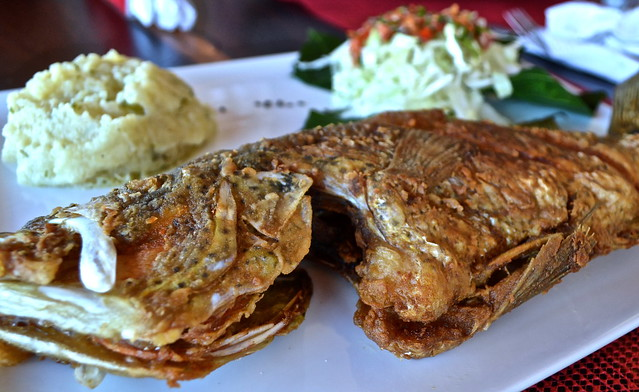 white fried fish  - la danta restaurant, flores restaurant