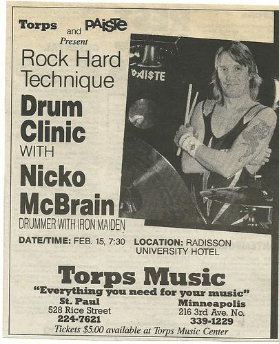 02/15/88 Nico McBrain (Iron Maiden) Drum Clinic @ Radisson University Hotel, Minneapolis, MN