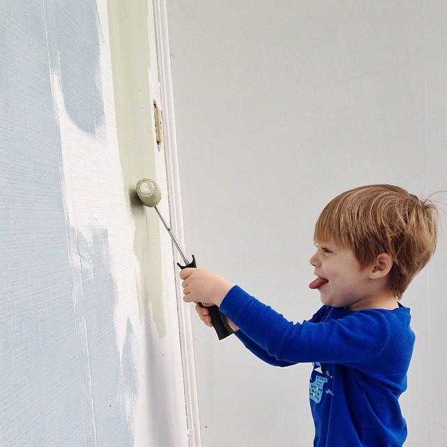 Helping...and yes, we are both currently covered in paint. #helper #365grateful #paint #home #color #choices #littleimp #trouble