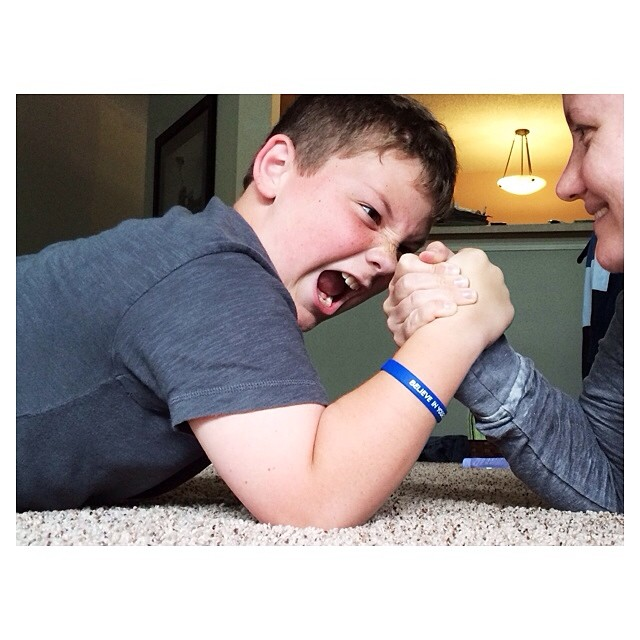 Jonah gets his competitive nature from his dad. Me, I'm good, win or lose. #latergram #fromwhenikickedhisbuttinarmwrestling