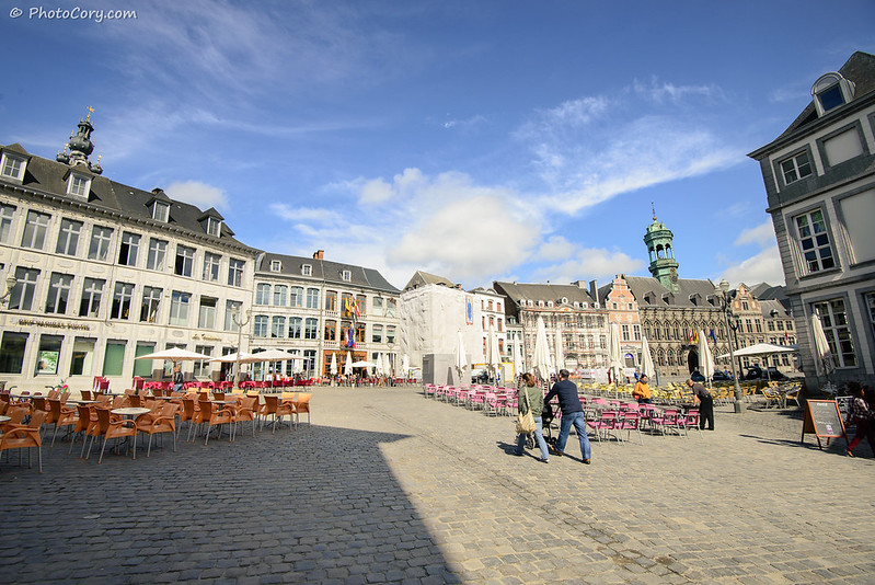Chairs in Grand Place in Mons, Belgium