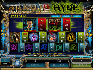 Jekyll and Hyde Slots Payout