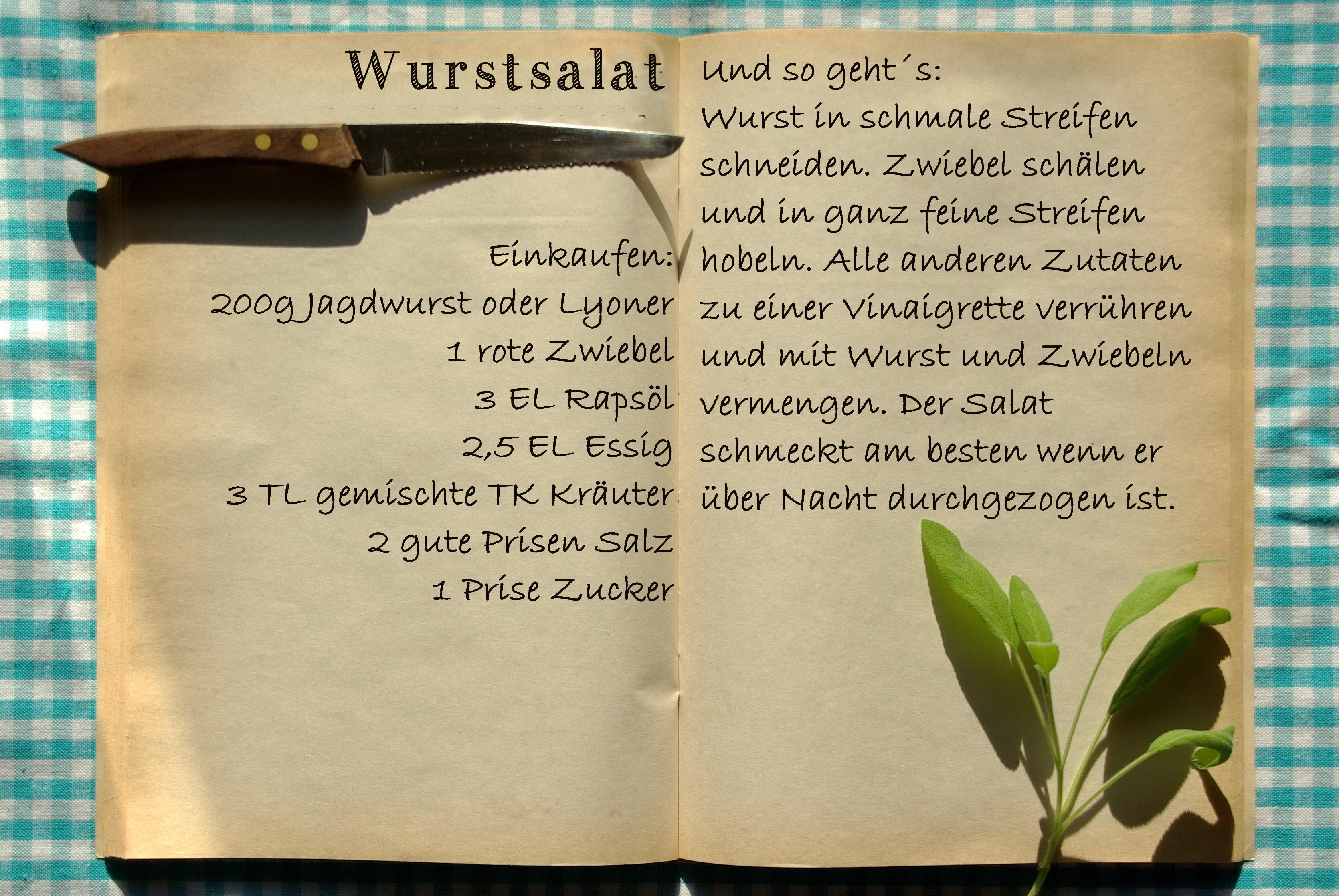 Einkaufszettel Wurstsalat by Glasgefluester