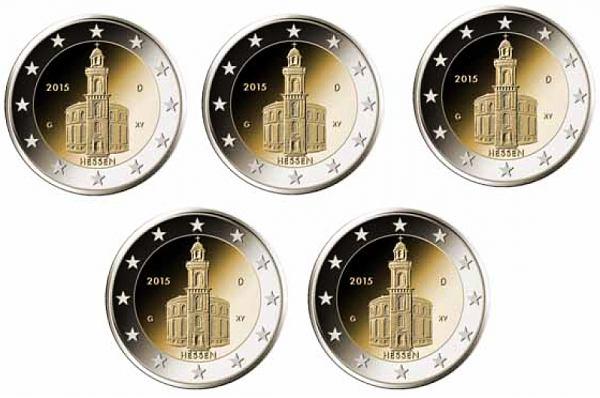 5x 2 Euro Nemecko 2015 A, D, F, G, J Hessensko