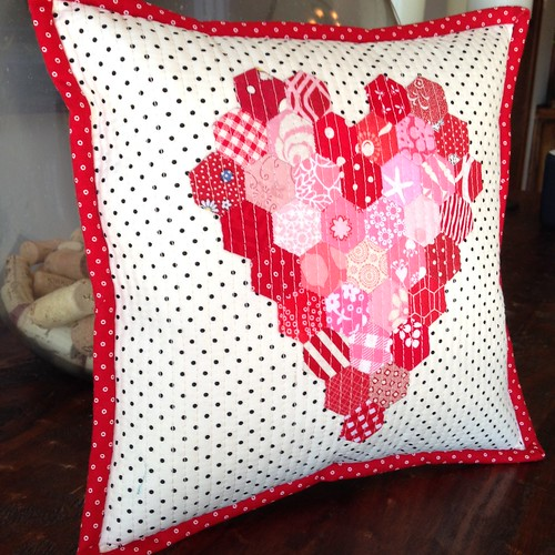 Quilted Heart Hexagon Pillow
