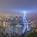 Light strikes the rivers in Pittsburgh during a spring storm