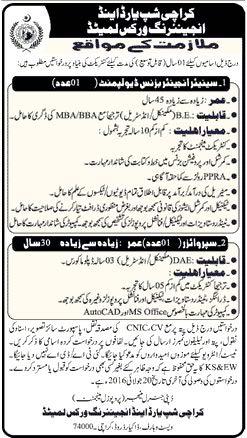 Karachi Ship Yard and Engineering Works Jobs