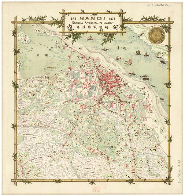 HANOI 1873 - Bản đồ do Phạm Đình Bách vẽ, Sở Địa Dư Đông Dương xuất bản năm 1937