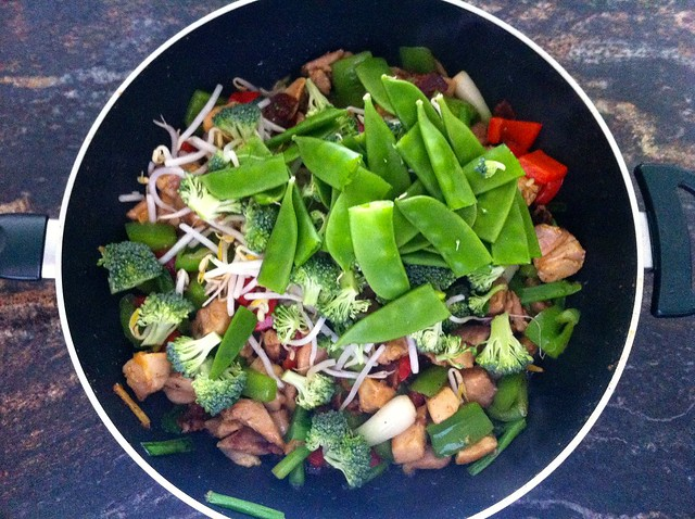 Beans, Broccoli and Sprouts Added to Wok