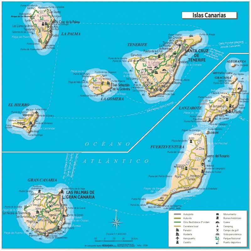 Mapa das Ilhas Canarias