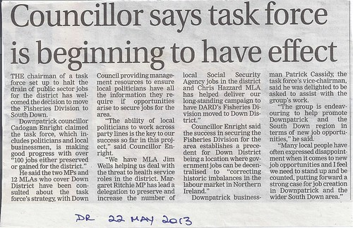 22nd May Jobs Task Force beginning to Work says Cllr Cadogan Enright