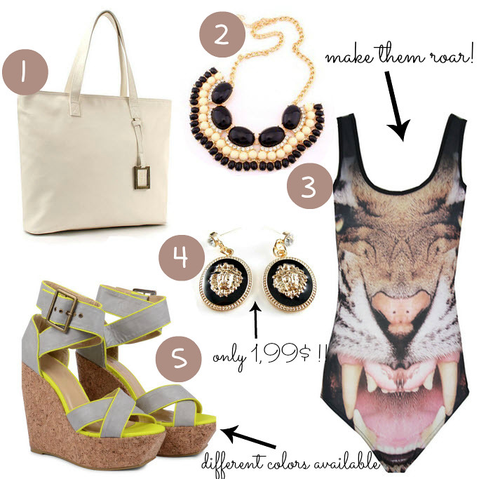 Ebay bargains, cheap clothes on Ebay, lion earrings, bib statement necklace, tiger swimsuit, safari outfit, tote bag, neon wedges
