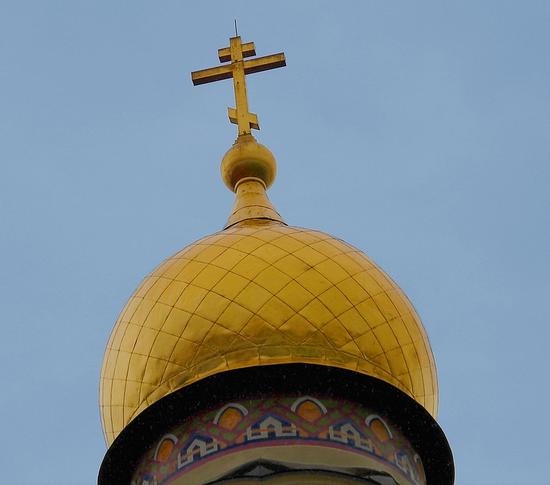 Gold cladding for a roof on the church of Old Believer's. by aigarsbruvelis