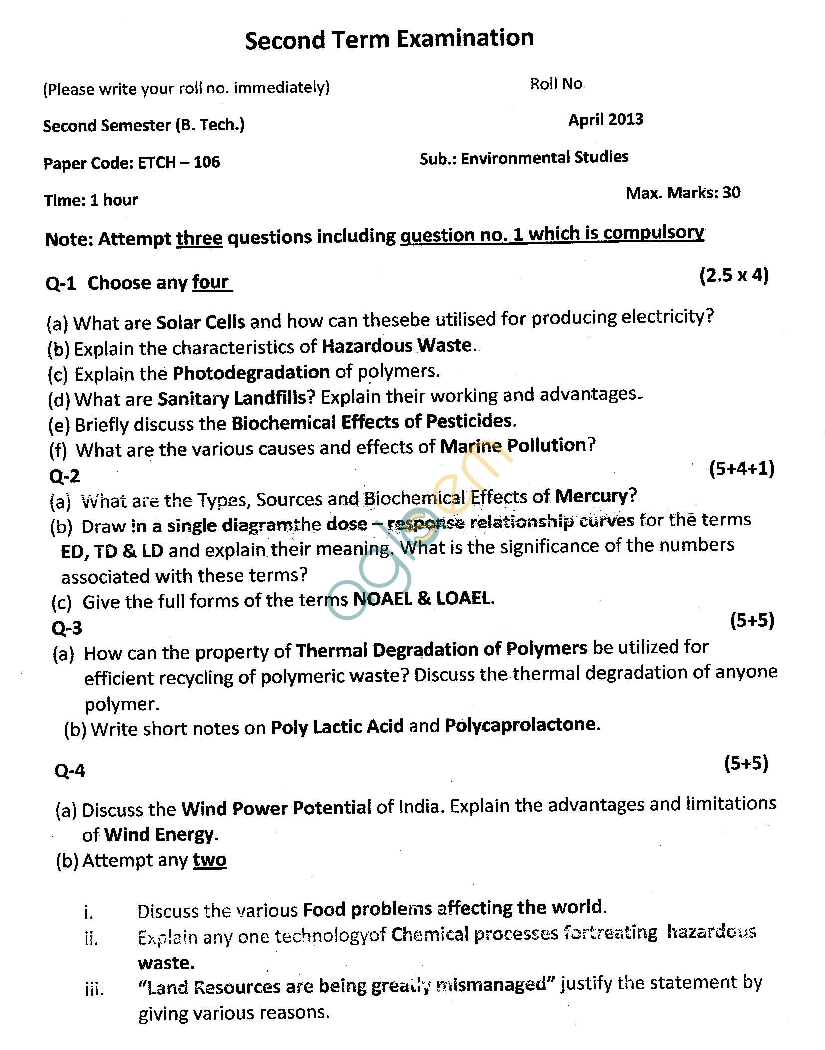 GGSIPU Question Papers Second Semester – Second Term 2013 – ETCH-106