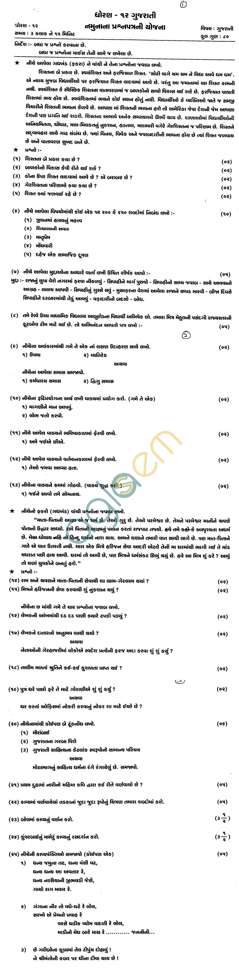 Rajasthan Board Class 12 Gujrati Paper Scheme and Blue Print