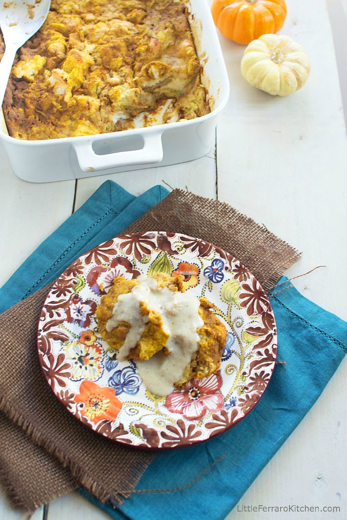Coconut Pumpkin Bread Pudding with Coconut Creme Anglaise via LittleFerraroKitchen.com