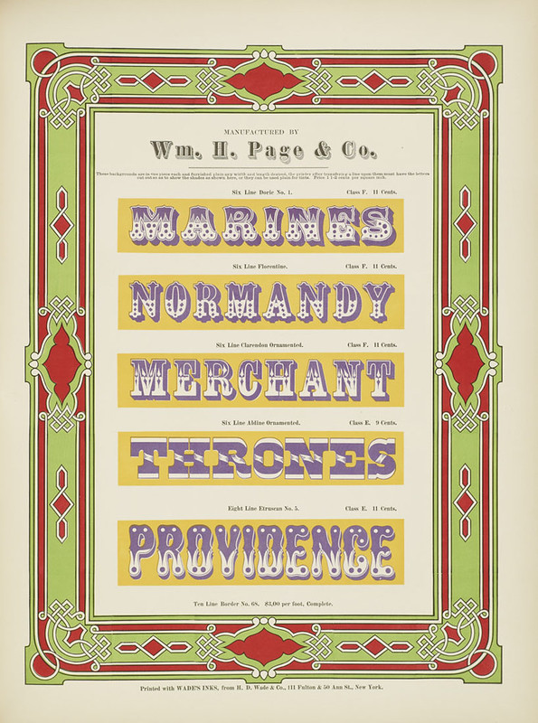 Specimens of chromatic wood type, borders 1874 - [via Columbia U] (..Providence) Doric Florentine + Ornamented type