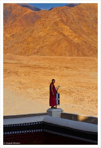 monk monastery leh ladakh thiksey thikse dusk sunset mountain hill man wall jammukashmir india canon 7d milestoneenterprisein milestoneenterprise