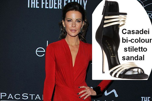 Kate Beckinsale in Casadei bi-colour stiletto sandal