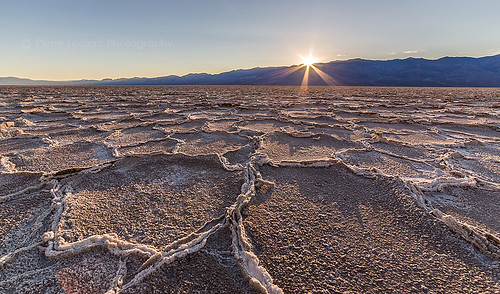 Sun rays at Badwater, Death Valley, NP, California