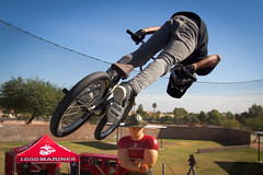 freeride(0.0), mountain bike(1.0), bicycle motocross(1.0), vehicle(1.0), bmx bike(1.0), sports(1.0), flatland bmx(1.0), cycle sport(1.0), extreme sport(1.0), bmx racing(1.0), stunt performer(1.0), stunt(1.0), bicycle(1.0),