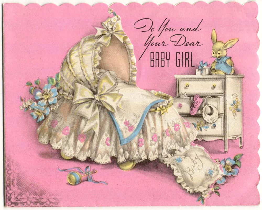 baby shower, vintage postcards, greeting card, vintage greeting card