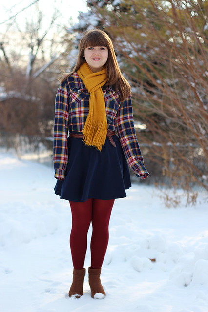 Flannel Shirt Navy Skirt Yellow Scarf Dark Red Tights | Flickr - Photo Sharing!