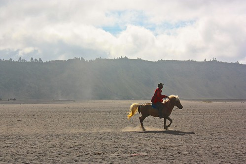 horse riding in the crater
