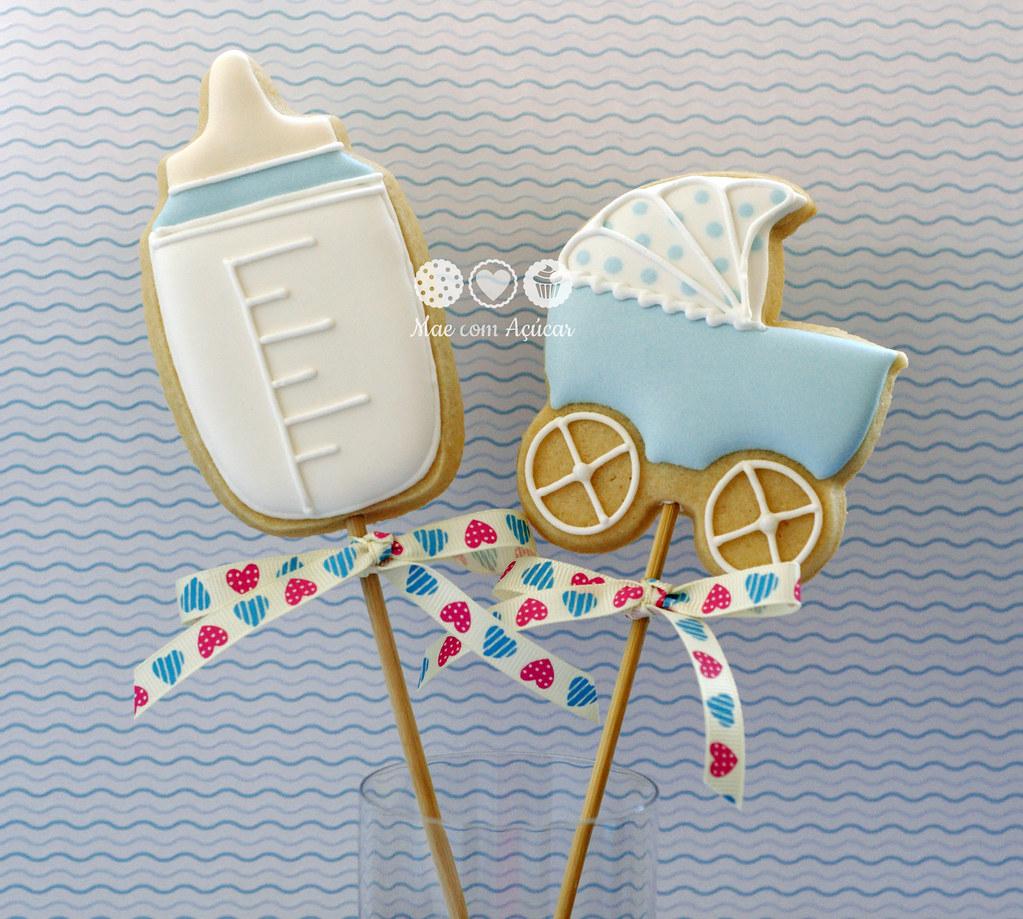 Carrinhos De Bebê E Mamadeiras Em Biscoitos Para Chá De Be Flickr